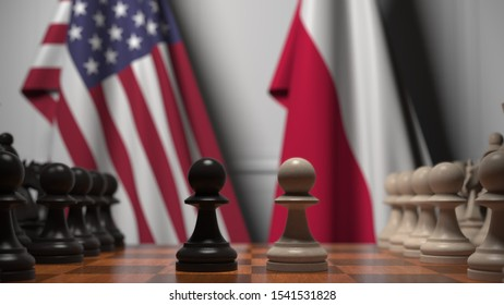 Flags of USA and Poland behind pawns on the chessboard. Chess game or political rivalry related 3D rendering