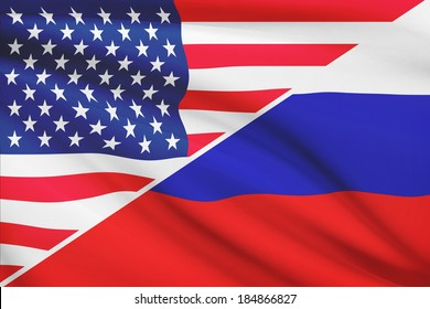 Flags of USA and Russia blowing in the wind. Part of a series.
