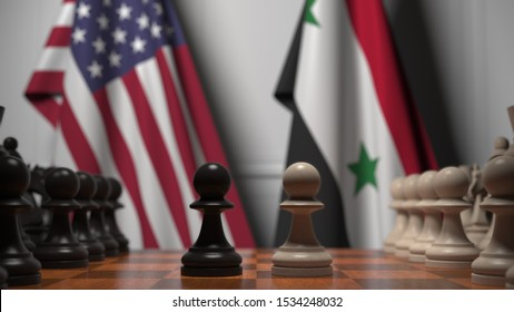 Flags of USA and Syria behind pawns on the chessboard. Chess game or political rivalry related 3D rendering
