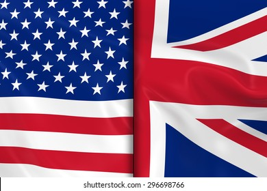 Flags of the USA and the UK Split Down the Middle - 3D Render of the American Flag and British Flag with Silky Texture