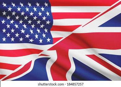 Flags of USA and United Kingdom blowing in the wind. Part of a series.