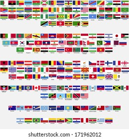 Flags of the world, all sovereign states recognized by UN, collection, listed alphabetically by continents, raster copy