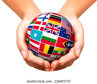 Globe made strip flags vector stock vector royalty free 287829320 vector illustration flags of the world in globe and hands freerunsca Image collections