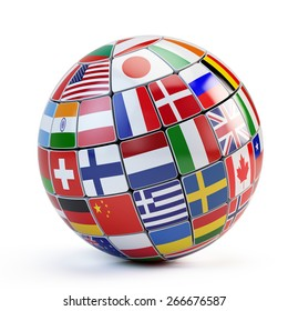 Globe world flags isolated on white stock illustration 90955634 flags of the world in globe isolated on white freerunsca Image collections