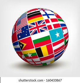 Flags of the world in globe. Raster version of vector