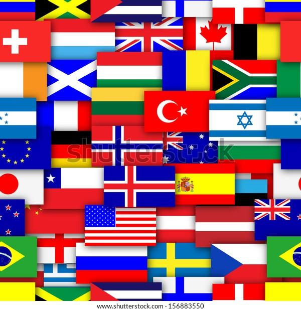 Ilustración De Stock Sobre Flags World Repeating Tileable
