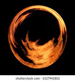 Flame circle on black background.