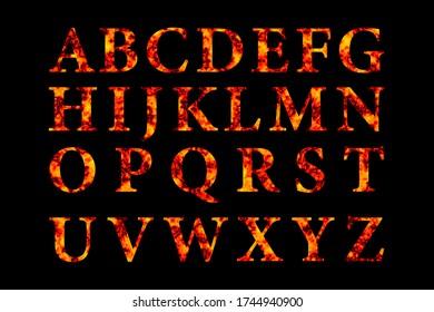 Flame font on black background