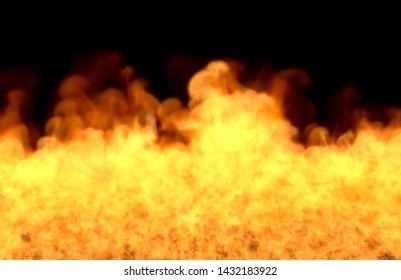 Flame from image bottom - fire 3D illustration of fantasy burning hell, sylized frame isolated on black background