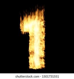 Flame number One 3D illustration