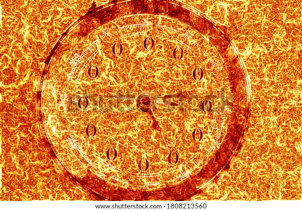 flames engulfing a clock face