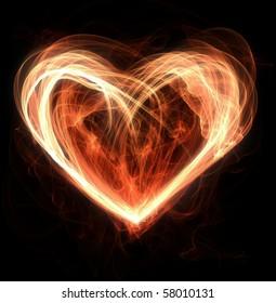 flames making a heart shape