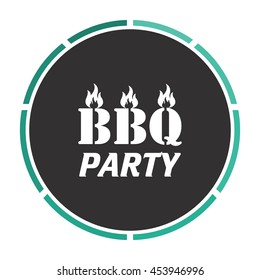 Flaming BBQ Party word design element. White circle button on black background
