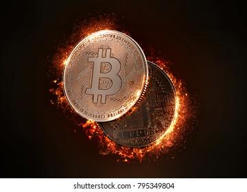 Flaming Bitcoin coin. 3D illustration.