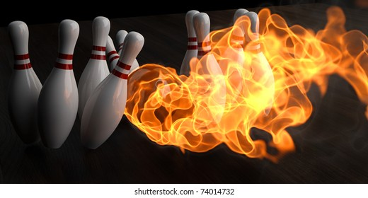 flaming bowling ball knocks down skittles. 3d illustration.