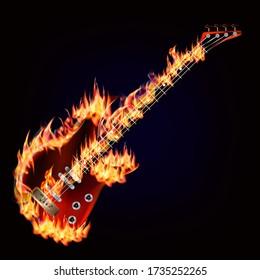 Flaming electric guitar on a dark blue background. Digital illustration.