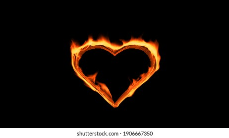 Flaming heart on the black background. Love feeling concept. 3d rendering.