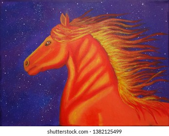 flaming horse of chaos. Red, orange horse on a galaxy purple background/ acrylic on canvas