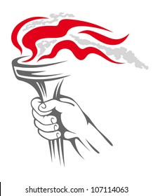 Flaming torch in people hand for sports concept design, such logo. Vector version also available in gallery