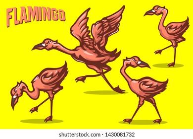 Flaminggo mascot logo and pose element