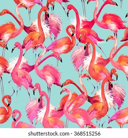 flamingo birds seamless background. Watercolor tropical nature pattern.