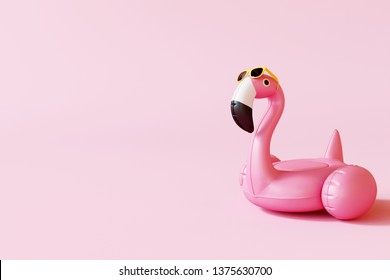 Flamingo float with sunglasses on pastel pink background. Summer minimal concept. 3d rendering