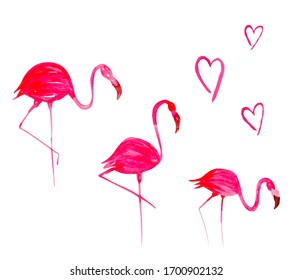 Flamingo and hearts made in watercolor