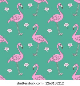 Flamingo omputer graphic seamless pattern illustration with pink exotic birds and hearts on teal background