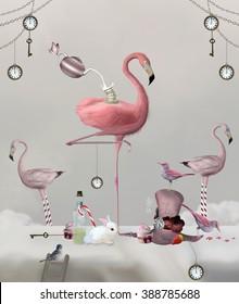 Flamingo on a table with clocks, keys and sweetness