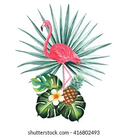 Flamingo with palm split leaves and pineapple watercolor isolated on white background