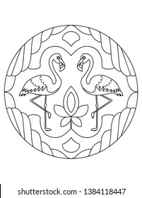 Flamingo pattern. Illustration with a bird. Mandala with an animal. Flamingo in a circular frame. Coloring page for kids and adults.