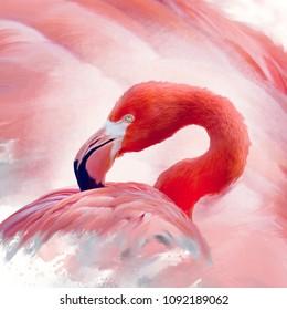 Flamingo portrait watercolor digital painting