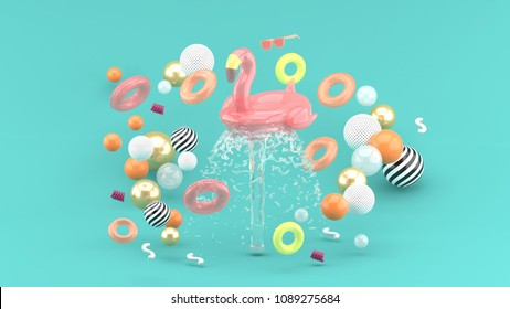Flamingo rubber ring floating on a fountain surrounded by colorful rubber rings on a blue background.-3d render.