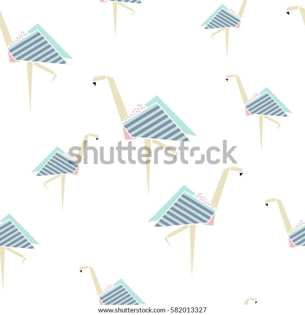 Flamingo seamless pattern. Origami style background. Geometrical style.