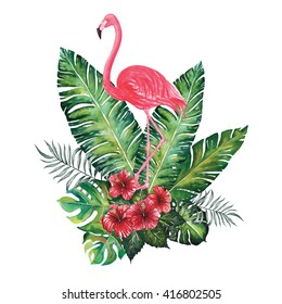 Flamingo with Tropic bouquet ,banana ,split ,palm leaves and hibiscus watercolor ,isolated on white background