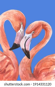 Flamingo. Watercolor picture with flamingos. Can be used as a greeting card.