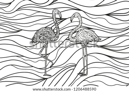 Flamingos on wavy wallpaper. Zentangle. Abstract backdrop with birds. Hand drawn foliage mandala