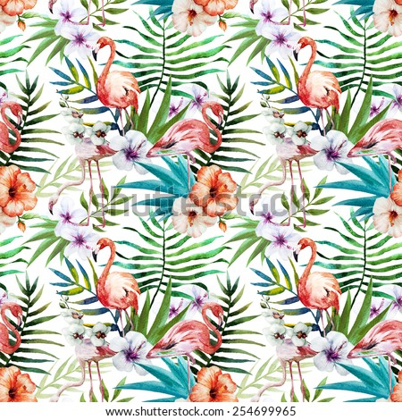 349332d2f Flamingos Pattern Watercolor Tropical Background Hibiscus ...