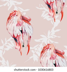 Flamingos and plants watercolor illustration pattern