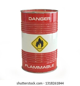 Flammable substance red barrel with flammable symbol 3d rendering