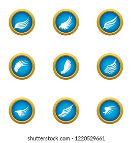 Flapping wing icons set. Flat set of 9 flapping wing icons for web isolated on white background