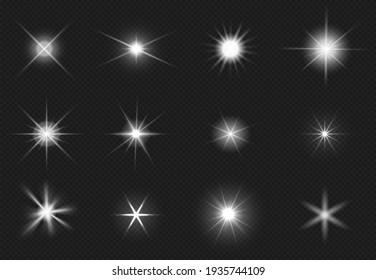 Flares and sparkling stars effect. White light burst, shiny glare. Magic starburst, realistic glow set
