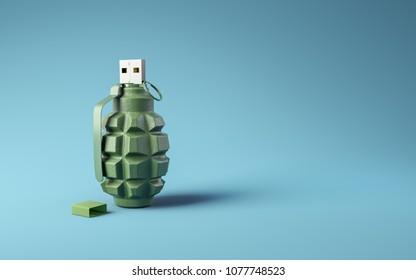 Flash drive usb pen safe data design on blue background. Data protection minimal 3d illustration concept