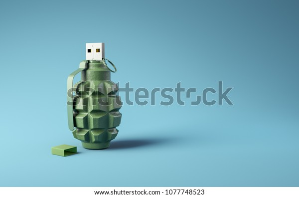 Flash drive usb pen safe data design on blue background. Data protection minimal 3d illustration concept