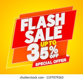 Flash sale up to 35 % off special offer banner, 3d rendering.
