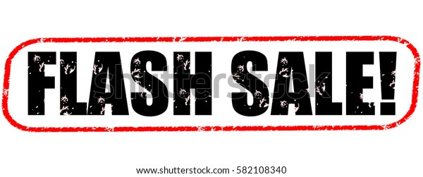 flash sale!red and black stamp on white background.