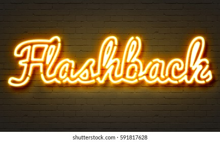 Flashback neon sign on brick wall background