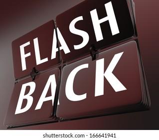 Flashback Word Retro Clock Tiles Turn Back Time