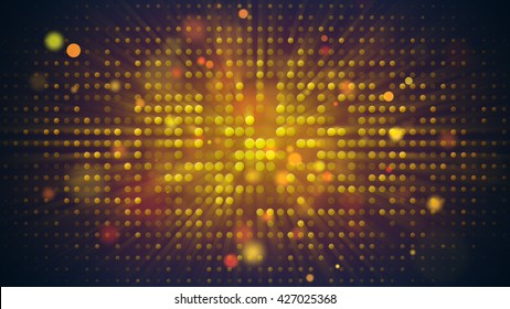 Flashing light bulbs disco wall. Computer generated absrtact holiday background