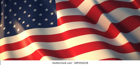 Flashing United States Flag 3d rendering.